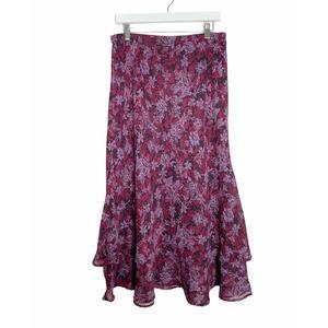 Vintage Purple Floral Midi Layered Ruffle Skirt L